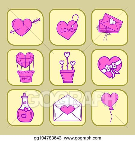 eps vector wedding outline icons vector illustration married