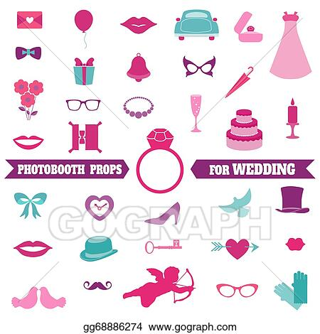 Vector Clipart - Wedding party set - photobooth props - glasses ... 7429d58b4a2