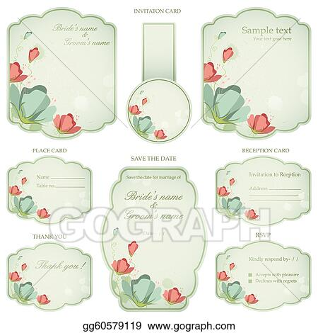 Clip Art Vector Wedding Reception Invitation Card Stock