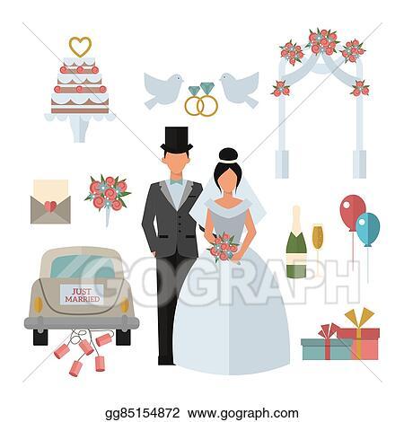 Eps Vector Wedding Symbols Bride Bridegroom Married Couple