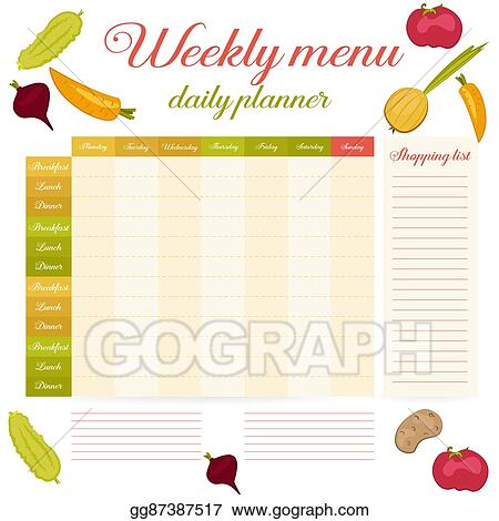 Eps Vector Weekly Menu Cute Vintage Daily Planner Stock Clipart