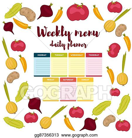 Vector Illustration Weekly Menu Daily Planner Eps Clipart