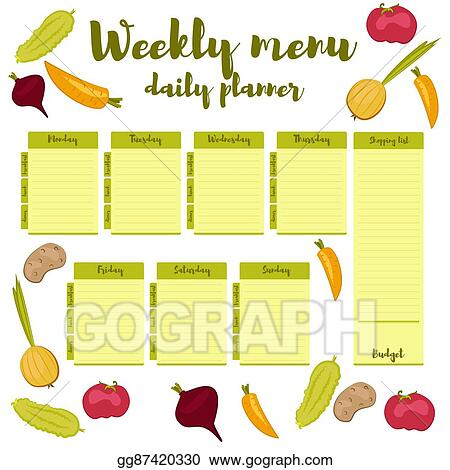 Vector Stock Weekly Menu Green Daily Planner Clipart Illustration