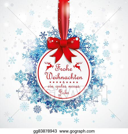 Weihnachten Clipart.Stock Illustration Weihnachten Bauble Red Ribbon Snowfall Bokeh