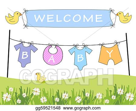 Stock Illustration Welcome Baby Announcement Clipart Gg59521548 Gograph