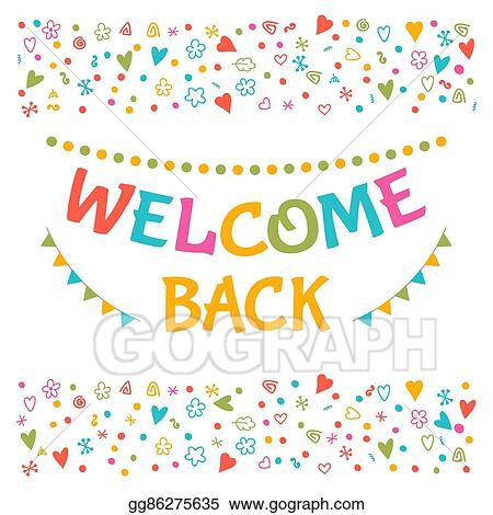 Vector art welcome back text with colorful design elements welcome back text with colorful design elements greeting card cute postcard decorative lettering text for your design m4hsunfo
