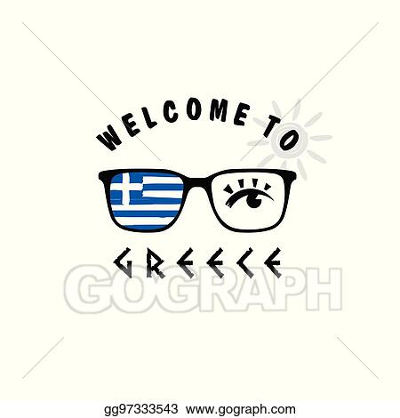 e91a306b4d9 Vector Art - Welcome to greece icon paradise on sunglasses ...