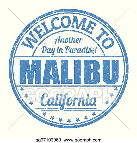 California malibu. Vector stock welcome to