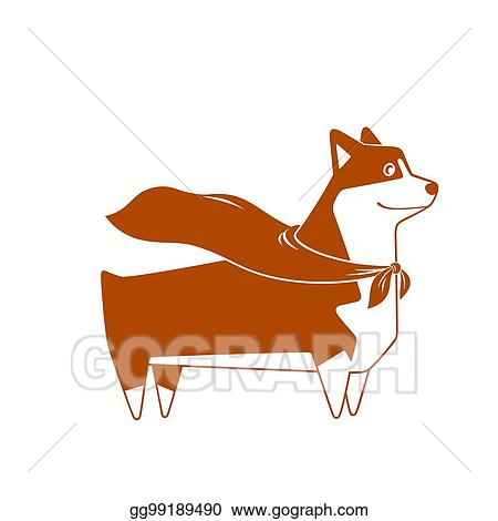 Vector Art - Welsh corgi dog with superhero cape  vector