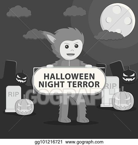 01a19e0b6 Clip Art Vector - Werewolf costume in holding sign. Stock EPS ...