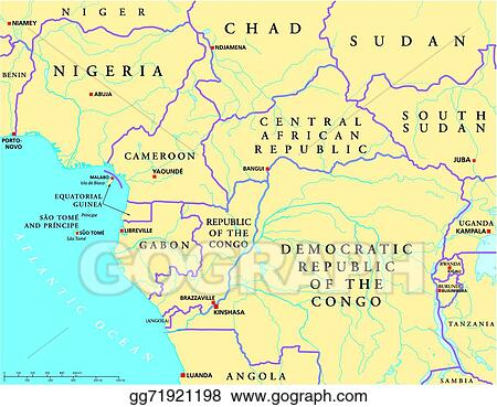 Eps Illustration West Central Africa Political Map Vector Clipart