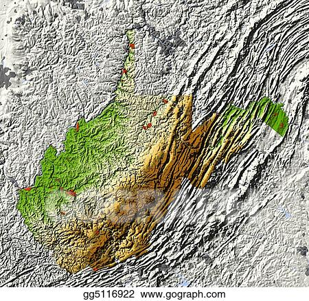 Relief Map Of Virginia.Stock Illustration West Virginia Shaded Relief Map Clip Art
