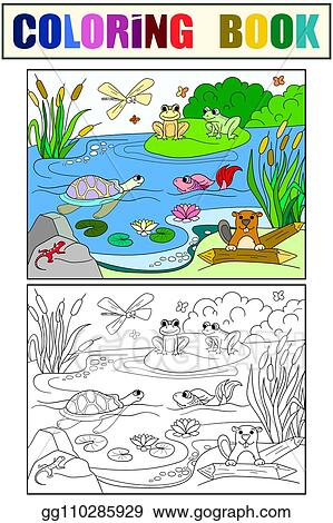 Vector Art Wetland Landscape With Animals Color And Coloring Vector For Adults Clipart Drawing Gg110285929 Gograph