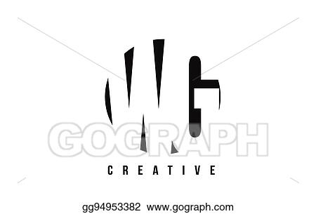 Vector Art Wg W G White Letter Logo Design With Circle Background
