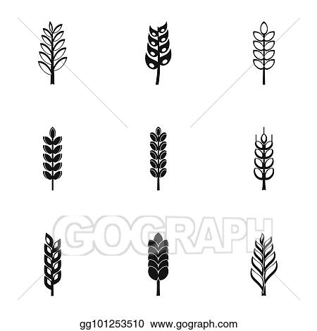 Drawing Wheat Ears Icon Set Simple Style Clipart Drawing