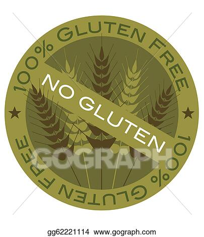 Vector Art - Wheat stalk 100% gluten free label  Clipart Drawing