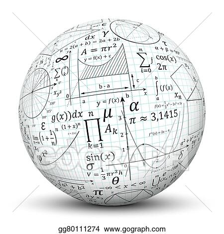 Drawings White 3d Sphere Ball With Math Symbol Texture Stock