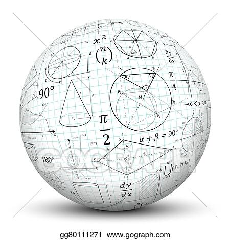 Stock Illustrations White 3d Sphere With Math Symbol Texture