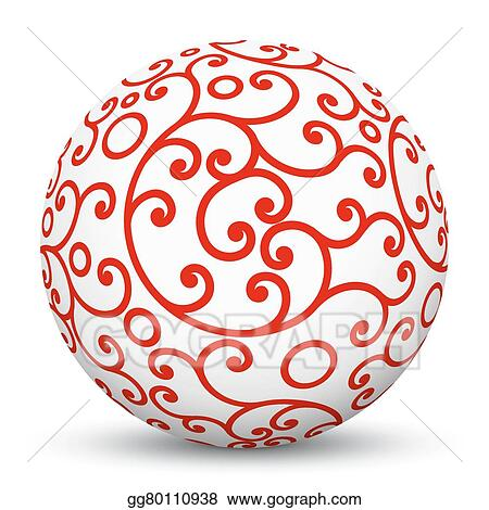 Vector Stock White 3d Sphere With Red Aesthetic Ornament Texture Pattern Stock Clip Art Gg80110938 Gograph