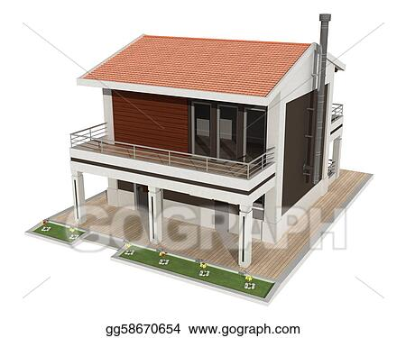 Stock Illustrations White and brown modern house Stock Clipart