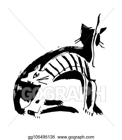 Vector Stock White Cat Black Cat Clipart Illustration