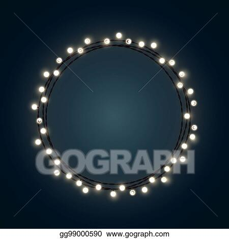 White Christmas incandescent light string wreath on the dark blue background. Vector outdoor patio lights.  sc 1 st  GoGraph & EPS Illustration - White christmas incandescent light string wreath ...