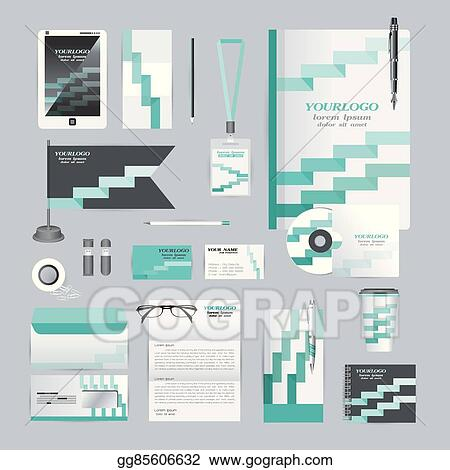 Vector Clipart White Corporate Identity Template With Orange