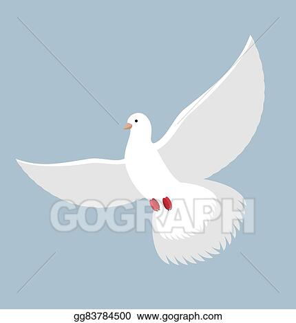 Vector Illustration White Dove Flying White Pigeon Bird With