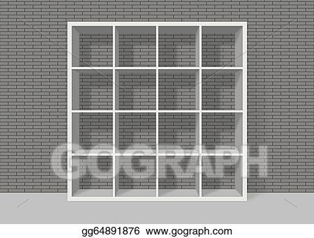 White Empty Square Bookshelf On Grey Brick Wall Background