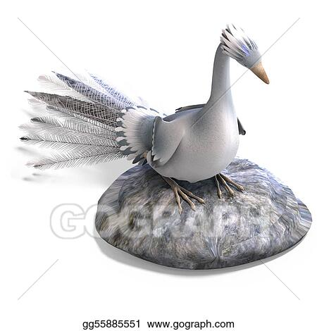 Clip Art White Fantasy Bird With Beautiful Feathers 3d