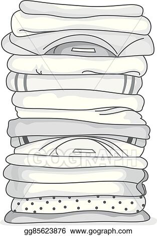 EPS Illustration - White folded clothes  Vector Clipart