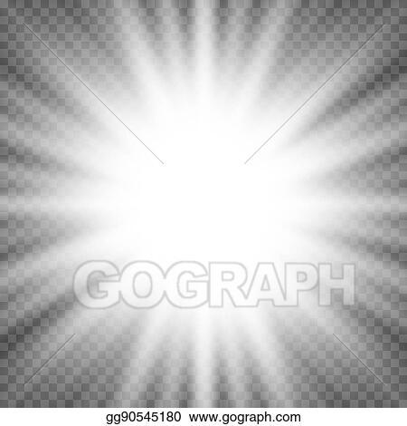 Vector Illustration - White glowing light burst explosion on