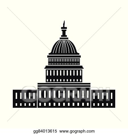vector art white house in washington dc icon clipart drawing