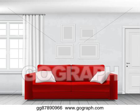 Eps Illustration White Interior And Red Sofa Vector Clipart