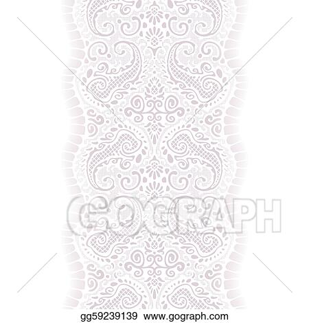 Lace ribbon. Eps illustration white seamless