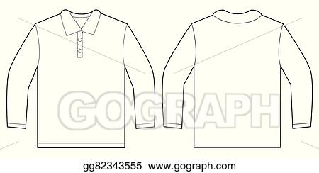 vector clipart white long sleeve polo shirt design template