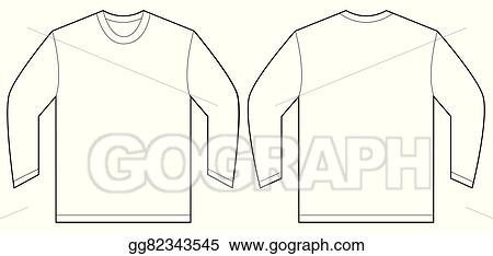 Vector Art White Long Sleeve Tshirt Design Template Clipart - T shirt artwork template