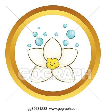 Vector Stock White Lotus Flower Vector Icon Clipart Illustration