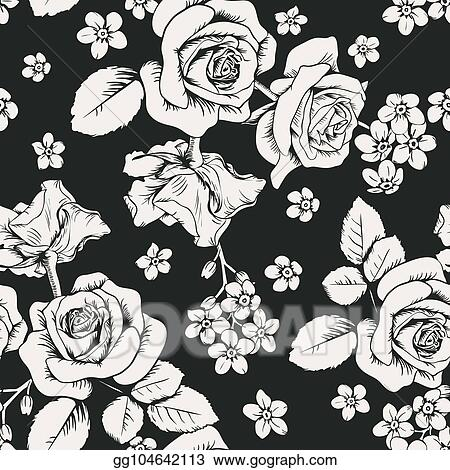 Cliparts of Background Black White Roses