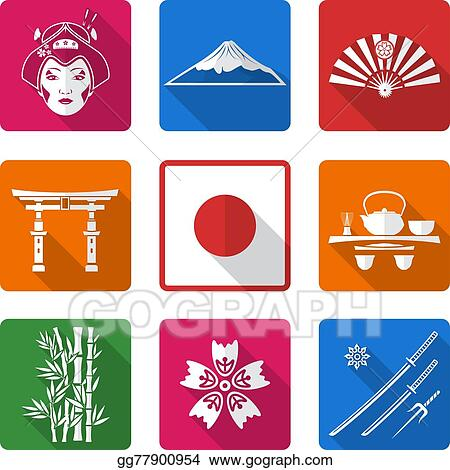 Vector Illustration - White solid flat style japan icons set