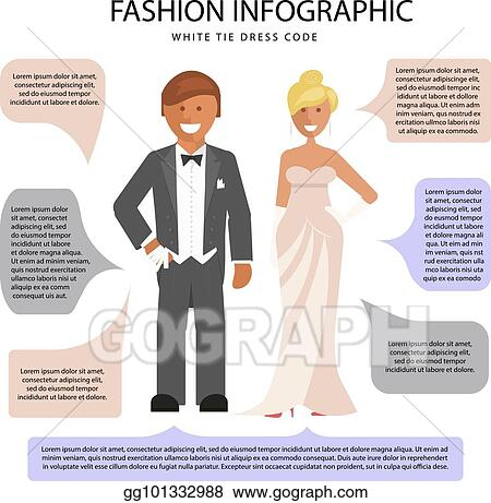 0ef6b28a9073 Vector Art - White tie dress code infographic. man and woman in evening suit  with notes isolated on white background. vector illustration of people in  ...