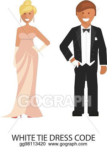 5570e47cc344 Vector Art - White tie dress code. EPS clipart gg98113420 - GoGraph