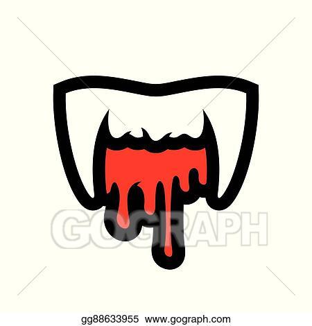 Eps Illustration White Vampire Teeth Cartoon Illustration Vector