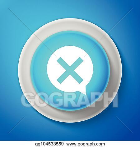 Clip Art Vector - White x mark, cross in circle icon