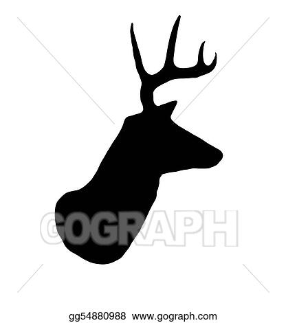 Drawing Whitetail Buck Deer Head Profile Silhouette Clipart