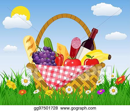 Vector Clipart - Hand holds wicker picnic basket full of products. Vector  Illustration gg97108188 - GoGraph