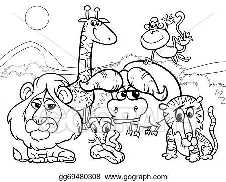 Vector Illustration Wild Animals Cartoon Coloring Page Eps