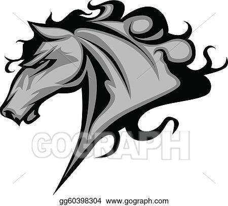 Angry horse head black and white mascot esports logo illustration — Stock  Vector © vector_victory #252060650