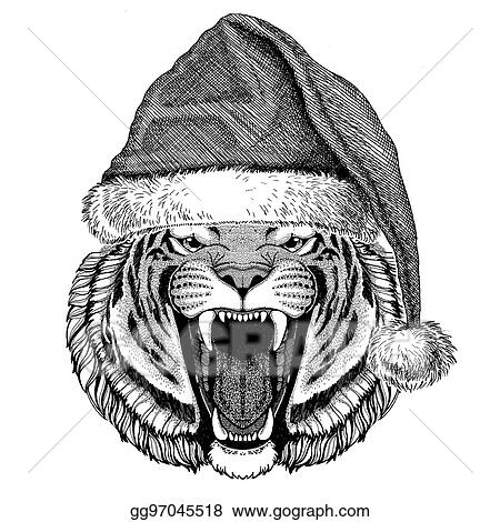 wild tiger wearing christmas hat new year eve merry christmas and happy new year zoo life holidays celebration hand drawn image