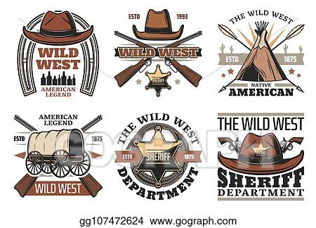 f104c55e4f4 Vector Art - Wild west symbols with sheriff cowboy hat and guns. EPS ...